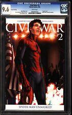 Civil War 2 CGC 9.6 2nd Print Spoiler Cover Spider-Man Reveals Identity