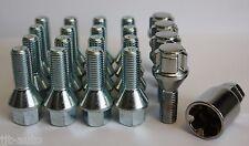 16 X M12 X 1,5 26mm Plata cónico Rueda de la aleación Pernos + pernos de bloqueo Lug Nuts