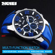 SKMEI Men Big Dial Fashion Quartz Watch Casual Date Waterproof Stopwatch 9128 1x
