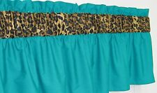 ~ 3 in Wide Rod Pocket ~ Turquoise & Cheetah Leopard Window Curtain Valance NEW!
