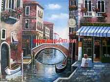 "36x48""100%Hand Painted Oil Flat,Venice, Gondola, Italy,High Quality, Creation"