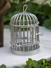 Miniature Dollhouse FAIRY GARDEN Accessories ~ Silver Metal Bird Cage ~ NEW