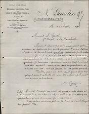 """PARIS (X° Arrt) GRAVURE & DECORATION sur VERRE """"N. GAUDIN"""" en 1910"""