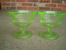 Green Hocking Roulette Window Depression Glass Custard/Sherbet Glass