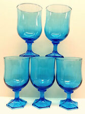 Anchor Hocking Flair Blue Glass Water Goblets (5), Tulip Shape Wine Glasses