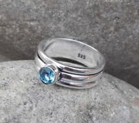 Blue Topaz Stone Solid 925 Sterling Silver Spinner Ring Meditation Ring Size