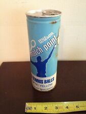 Vintage Wilson Match Point Optic Yellow Tennis Balls In Can Still Sealed 1970s