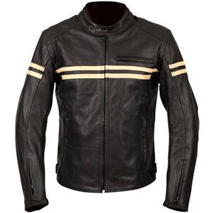WEISE BRUNEL CLASSIC LEATHER MOTORCYCLE JACKET BLACK / CREAM SIZE UK 46 RRP £249