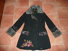 Desigual mantel mit abnehmbarem strickkragen schwarz