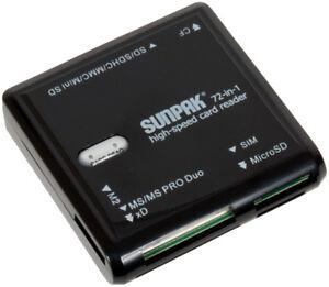 Sunpak 72-in-1 high speed card reader built in usb 2.0 self storage plug new box
