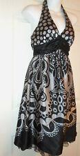 Silver Black Halter Dress Size 3 Empire Waist Miss Bisou Cocktail Party Prom