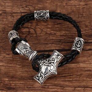 Black Stainless Steel Silver Rope Mjolnir Thors Hammer Amulet Unisex Bracelet