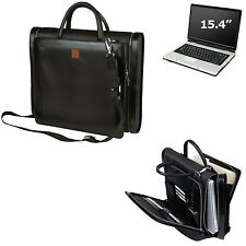 Men/Women Compu-Briefcase Expandable Notebook Computer Leather Trim Laptop Bag