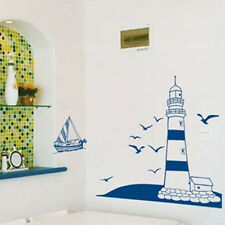 nautical theme wall sticker blue lighthouse sea gulls sailboat art home decor
