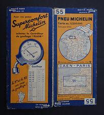 Carte MICHELIN n°55 old map CAEN PARIS ROUEN LE HAVRE1933 Bibendum pneu tyre