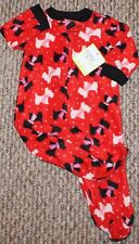 New! Baby Girls Sleeper (PJ; Full-Zip; Dogs w/ Scarfs; Red/Pink) - Size 6 mo