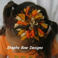 Thanksgiving Fat Round Korker Hair Bow Soft Headband Fits Preemie to Adult Cute