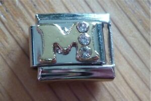Italian Charms Rhinestone Letter M Fits Classic Size Italian Charm Bracelet