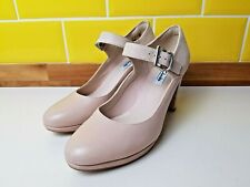 New Clarks Narrative Kendra Gaby Nude Leather Block Heels Size 7 / 41 RRP £60