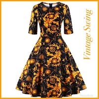 Vintage 50s 1950 Dress Size XL Swing Paisley Floral Midi Flared A-Line Party NWT