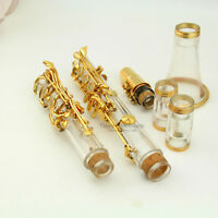 Clear Bb KEY clarinet kit real gold plated parts case / grease/ cleaning cloth