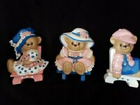 VINTAGE LOT 3-BURWOOD HOMCO PRODUCTS BEARS #3315 WALL DECOR NURSERY 1995