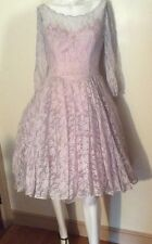 EMMA DOMB Vtg 50s Periwinkle Lace Tea Length Party Dress- Pearls, PUFF, UNION