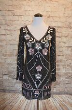Modcloth Starlet Aura Mini sequin Dress NWT 4 Frock & frill  black long sleeve
