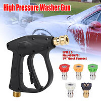 3000 PSI High Pressure Washer Gun Car Wash Foam Spray Short Wand w/Nozzle Tips