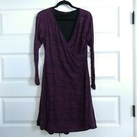 PRANA Women's Nadia Long Sleeve Faux Wrap Yoga Dress V-neckline Purple Size L