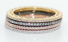 Sterling Silver .925 Lab Diamond Set Of 4 Color Eternity Rings 1CTW