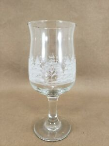 Crystal Wine Fluted Goblet Glass  Gold Rim Etched Winter Christmas Tree Scene