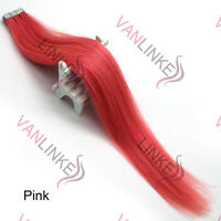 PU Seamless Skin Tape in Weft Remy Real Human Hair Extensions Pink 20PCS