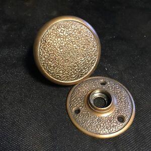 Antique Entry Eastlake Russell & Erwin Damascene Solid Bronze DoorKnob & Rosette
