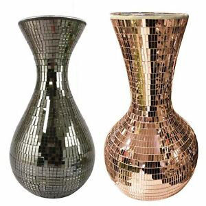 Metallic Mirrored Mosaic Ceramic Vases - Copper Grey Premium Home Decor
