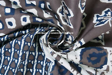 """Gray Blue Abstract Patch Print Rayon Jersey Knit, Fabric By The Yard Indian 44"""""""