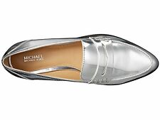 NIB Size 7.5 Michael Kors Connor Silver Metallic Leather Loafer $135