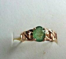 NATURAL AAA GREEN EMERALD COLUMBIAN OVAL & WHITE CZ STERLING 925 SILVER RING 7.5
