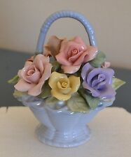 Vintage Autumn Rose Porcelain  Basket of Roses Y.H. Pottery 1998