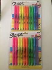 New listing Lot Of 2 Sharpie Highliters 10pk Narrow Chisel Smear Guard New