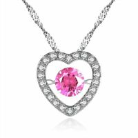 Women's Round Pink Sapphire Sterling Silver Heart Shape Dancing Pendant Necklace