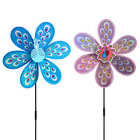 Cute Peacock Laser Sequins Windmill Kids DIY Outdoor Toys Garden Yard De RC#