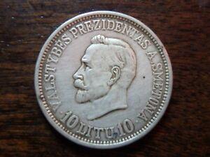 Original LITHUANIA 1938 10 Litu Anniv. of Republic Silver Coin higher grade