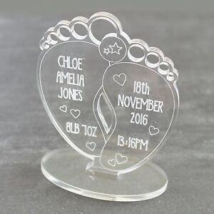 Personalised Newborn Baby Birth Details Feet Keepsake BOY or GIRL Gift Present