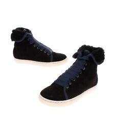 RRP €290 LANVIN Kids Sneakers Size 27 UK 9.5 US 10.5 Shearling Grosgrain Laces