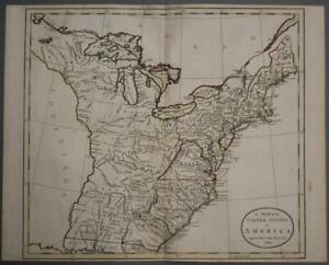 UNITED STATES 1785 GUTHRIE & RUSSELL UNUSUALANTIQUE ORIGINAL COPPER ENGRAVED MAP