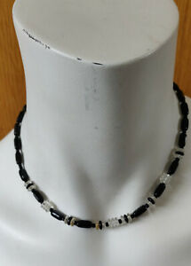 BLACK & CLEAR BEAD CHOKER NECKLACE