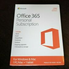 BRAND NEW Microsoft Office 365 Personal PC or Mac Word Excel PowerPoint Outlook