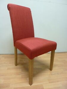 New 2 x Solid Oak & Red Tweed Fabric Scroll Top Dining Chairs *Furniture Store*