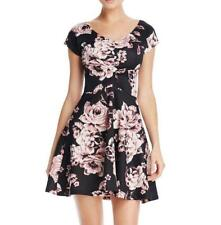 NWT Aqua Womens Black Pink Floral Print Stretch Knit Ruched Fit & Flare Dress XS